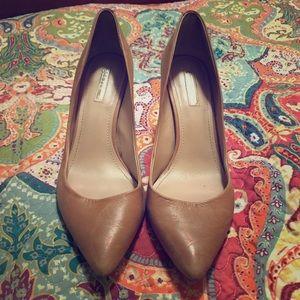 "Tan leather 3 1/2"" high heels"